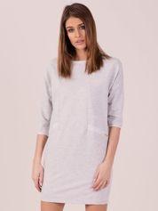 Jasnoszara dresowa sukienka z imitacją kieszeni