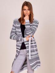 Jasnoszary sweter w paski z wiązaniem