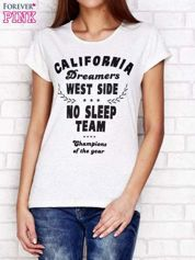 Jasnoszary t-shirt  z napisem CALIFORNIA DREAMERS