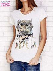Jasnoszary t-shirt z sową i napisem BOHEMIAN GIRL
