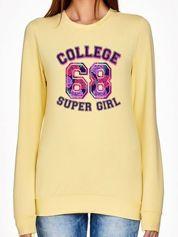 Jasnożółta bluza z napisem COLLEGE SUPER GIRL