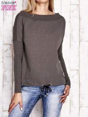 Khaki bluza z szerokim ściągaczem i troczkami