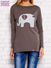 Khaki bluzka ze słoniem