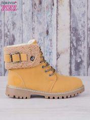 Khaki buty trekkingowe traperki ocieplane z wywiniętą wełnianą cholewką i ozdobnym zapięciem