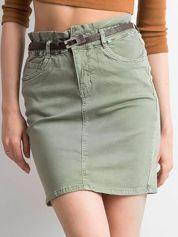 Khaki dopasowana spódnica jeansowa