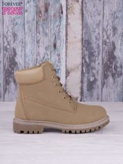 Khaki jednolite buty trekkingowe damskie traperki ocieplane