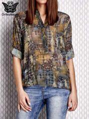 Khaki koszula mgiełka w ornamentowy wzór