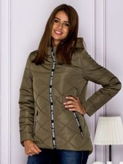 Khaki kurtka przejściowa z ozdobnymi suwakami