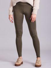 Khaki legginsy damskie gładkie