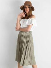 Khaki plisowana spódnica midi w paski