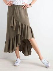 Khaki spódnica z falbanami