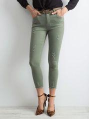 Khaki spodnie z przetarciami