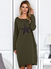 Khaki sukienka z gwiazdą