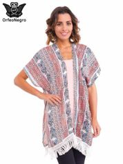 Kimono we wzór etno z frędzlami