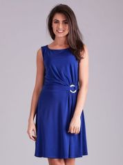Kobaltowa drapowana elegancka sukienka
