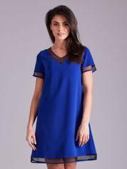 Kobaltowa trapezowa sukienka
