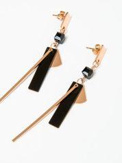 Kolczyki damskie wiszące z geometrycznymi elementami pozłacane 14-karatowym złotem