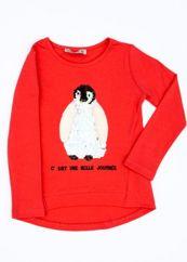 Koralowa bluzka dla dziewczynki z pingwinem