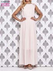 Koralowa sukienka maxi z koronkowym tyłem