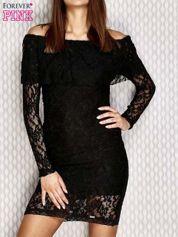 Koronkowa sukienka z hiszpańskim dekoltem czarna