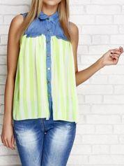 Koszula mgiełka w paski z jeansowym dekoltem fluozielona