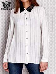 Koszula w paseczki ze skórzanymi wstawkami biała
