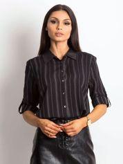 Koszula w paseczki ze skórzanymi wstawkami czarna