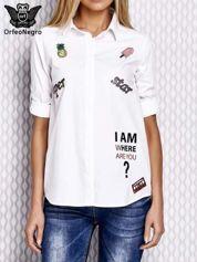 Koszula z naszywkami biała