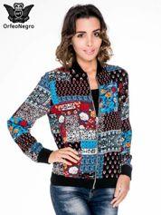 Kurtka bomber jacket w patchworkowe wzory