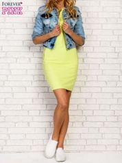 Limonkowa sukienka z kieszeniami na suwak