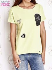 Limonkowy t-shirt z motywem serca i kokardki
