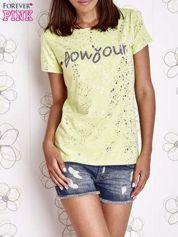 Limonkowy t-shirt z napisem BONJOUR