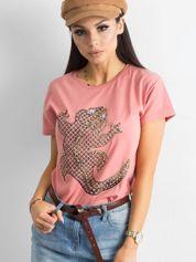 Łososiowy damski t-shirt