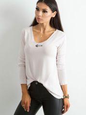 Luźna bluzka z długim rękawem jasnoróżowa