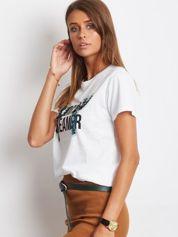 Luźny t-shirt z kaktusami z cekinów biały