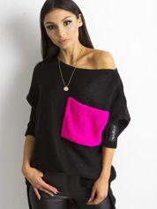MAGPIE Czarny luźny sweter z kieszenią