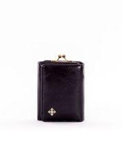 Mały czarny portfel damski z kieszonką na bigiel