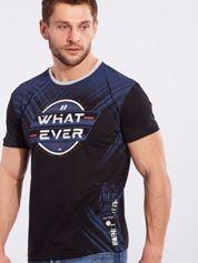 Męski bawełniany t-shirt z printem czarny