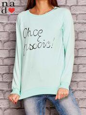 Miętowa bluza z napisem CHCĘ PSOCIĆ