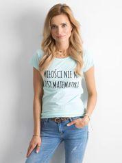 Miętowa damska koszulka z napisem