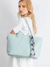 Miętowa torba shopper bag z apaszką