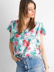 Miętowo-różowa bluzka w kwiaty