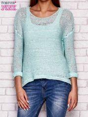 Miętowy ażurowy sweter