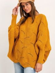 Musztardowy sweter Poncho