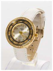 N&K Zegarek damski z cyrkoniami i kryształkami wokół tarczy