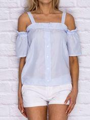 Niebieska bluzka w cienkie paski