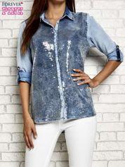 Niebieska denimowa koszula z cekinami