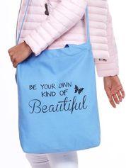 Niebieska eko torba z nadrukiem tekstowym BEAUTIFUL