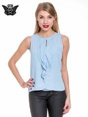 Niebieska elegancka koszula z żabotem