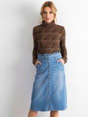 Niebieska jeansowa spódnica midi z wiązaniem